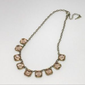 💌 Retro Glam Square Cut Crystal Necklace (blush)